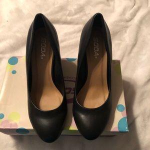 Soda black wedge shoes